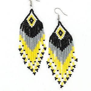 Yellow/black/gray seed bead earring Paparazzi